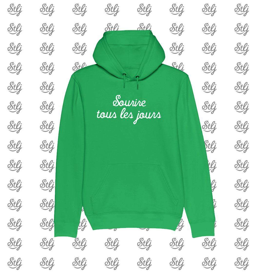 Hoody vert Sourire tous les jours