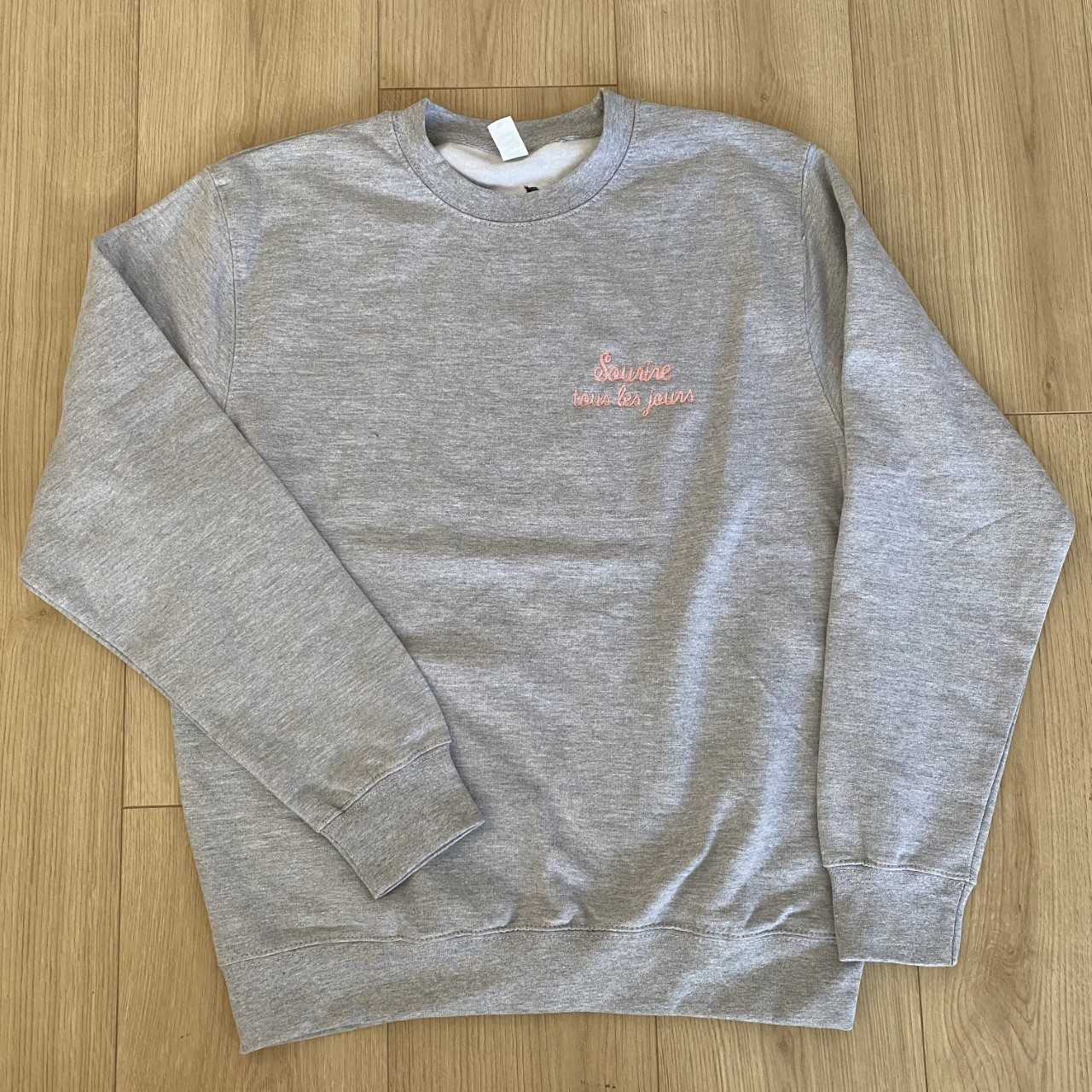 Sweat col rond gris chiné & rose