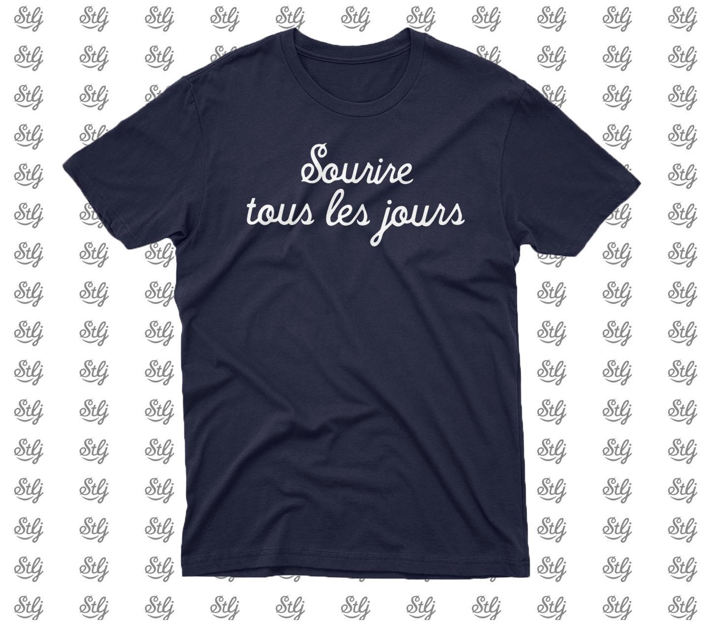 T-Shirt Sourire tous les jours Bleu marine